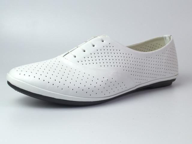 Белые балетки летние кожаные женская обувь LaCoSe White Perf by Rosso Avangard
