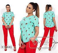 Летний яркий комплект из льна, блуза с круглым вырезом и короткими рукавами, брюки прямые на резинке, 2 цвета