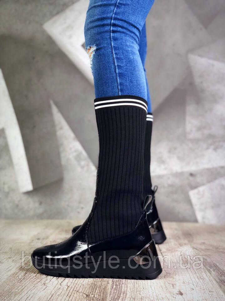 Демисезонные сапоги Eminsi черные натуральная лакированная кожа+обувной текстиль