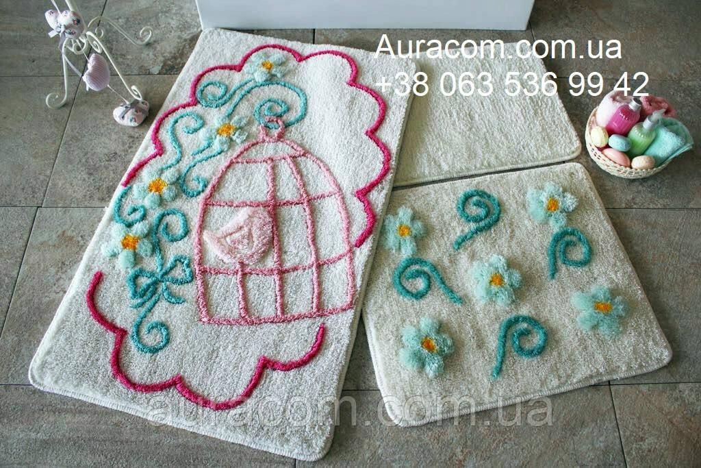 Коврики, набор для ванной, в наборе три коврика