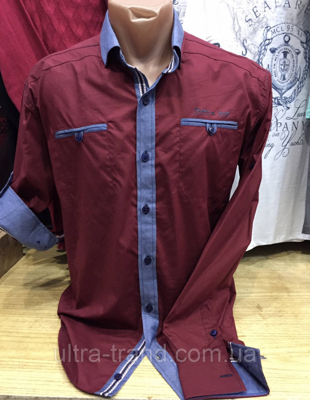 Мужская коттоновая турецкая рубашка с длинным рукавом- трансформером цвета марсала