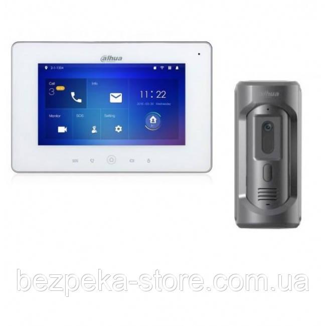Комплект ip видеодомофона Dahua DH-VTH5221DW и ip вызывной панели DHI-VTO2101E-P