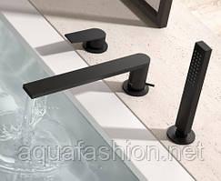 Черный смеситель врезной в борт ванны Project-tres 21116103NM Испания