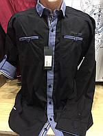 Мужская чёрная турецкая коттоновая рубашка с длинным рукавом- трансформером