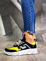9c40d9cea Кроссовки желтые с черным женские Сolors на платформе натуральная кожа+замша