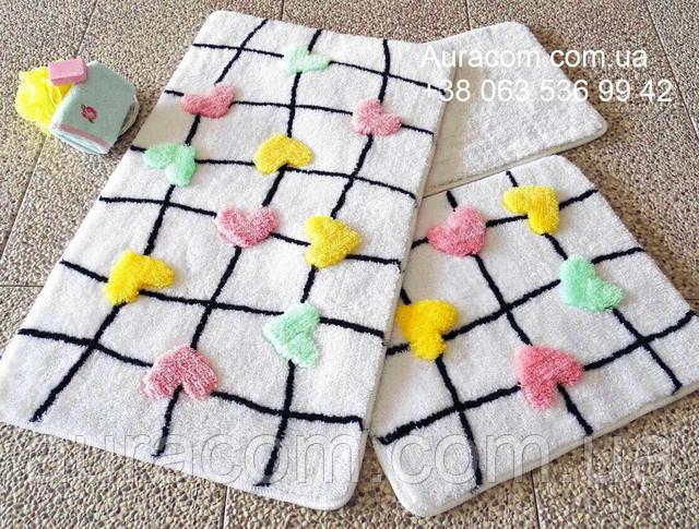 Коврики для ванной,  набор три коврика, сердца, белый цвет
