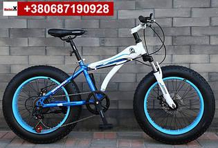 Новинка 2019 року. Підлітковий велосипед 20 дюймів фетбайк синій з білим, фото 3