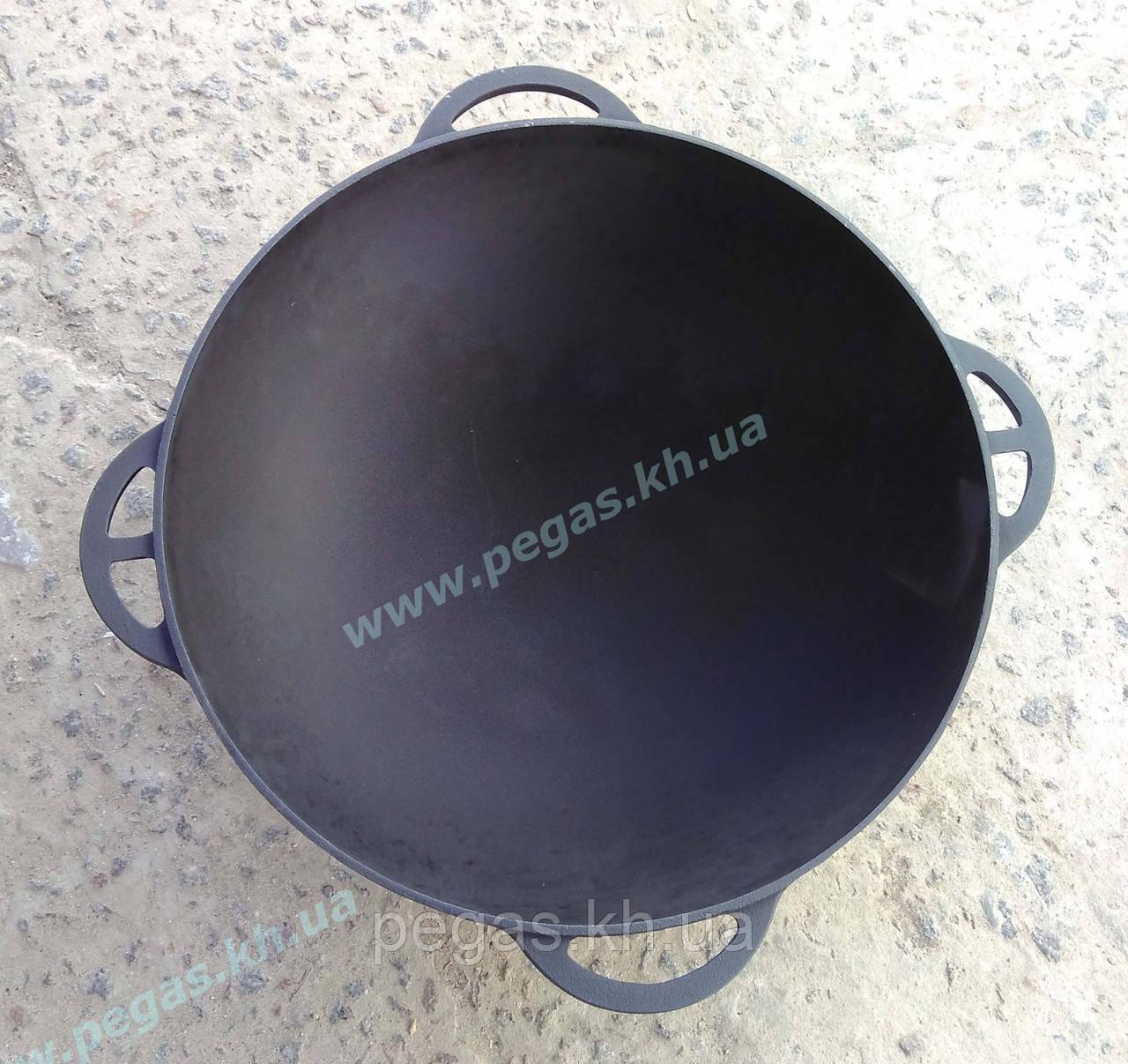Казан чугунный азиатский 6 литров с чугунной крышкой сковородой