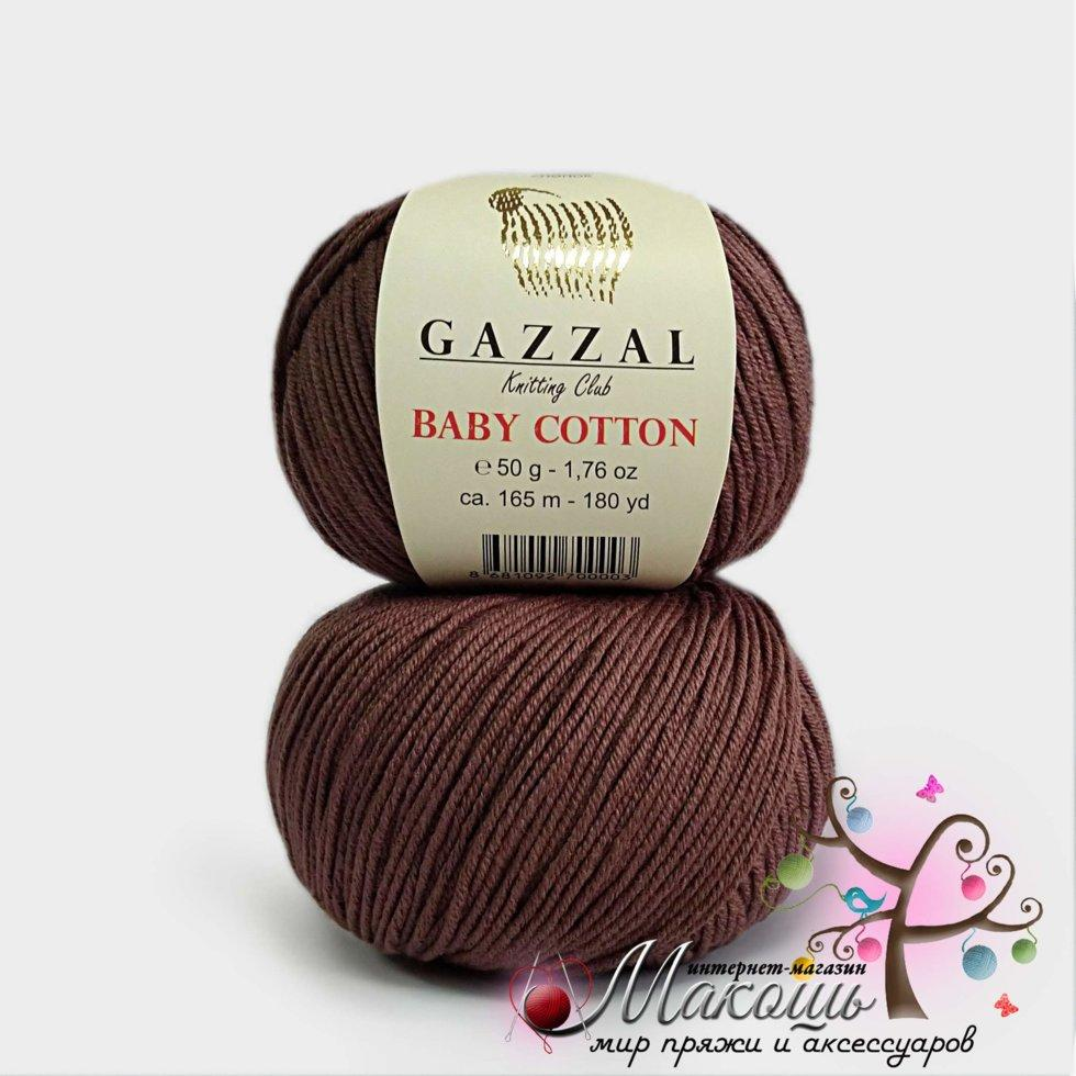 Пряжа Baby cotton Gazzal (Бэби коттон Газал), 3455, кофе