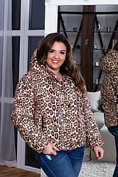 Женская весенняя дутая куртка с высоким воротом и капюшоном в леопардовый принт, батал большие размеры