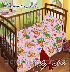 ТМ TAG Детский комплект  Обезьянки роз. (простынь на резинке)