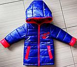 Демисезонная детская куртка Человек Паук с вырезами для глаз на капюшоне, фото 2