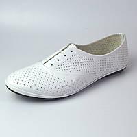 Белые балетки летние кожаные женская обувь больших размеров LaCoSe White Perf by Rosso Avangard BS, фото 1