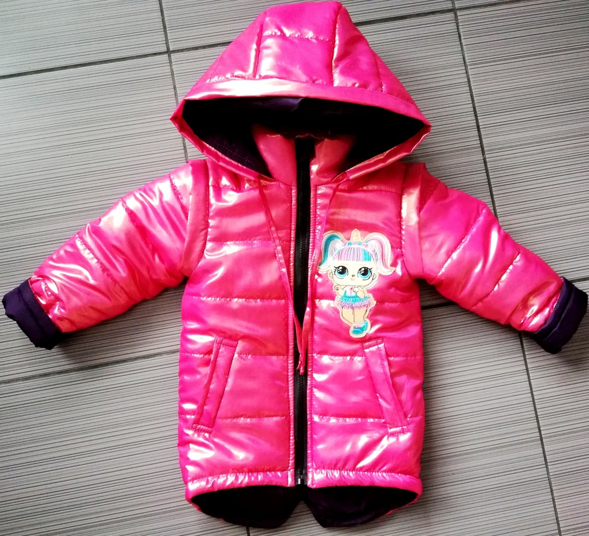 Демисезонная детская куртка ЛОЛ ЕДИНОРОЖКА с отстегными рукавами