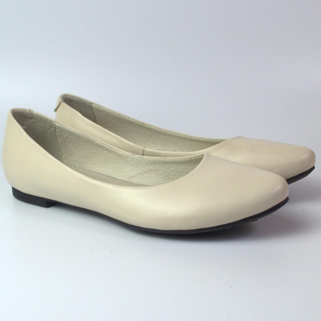 Балетки білі шкіряні жіноче взуття великих розмірів Scara V Beige Leather BS by Rosso Avangard літні