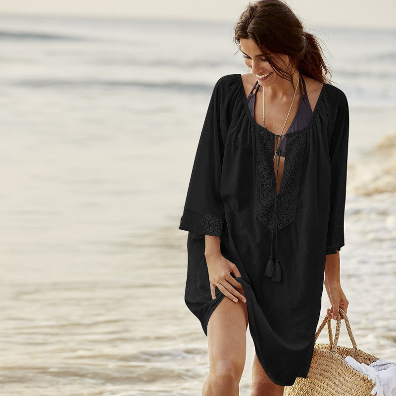 Туника пляжная черного цвета широкая, фото 1