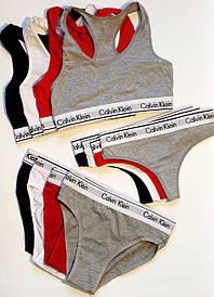 Женский набор белье Calvin Klein 3 в 1 ( топ слипы стринги ) Реплика