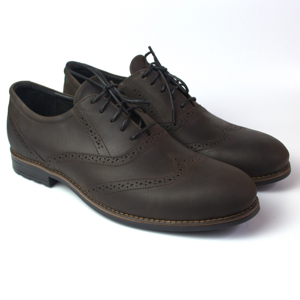 Туфли броги кожа коричневые мужская обувь больших размеров Rosso Avangard Felicite Brown Crazy Leather BS