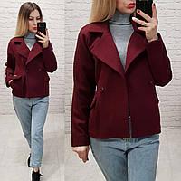 Стильное двубортное пальто - жакет, арт 826, цвет марсала
