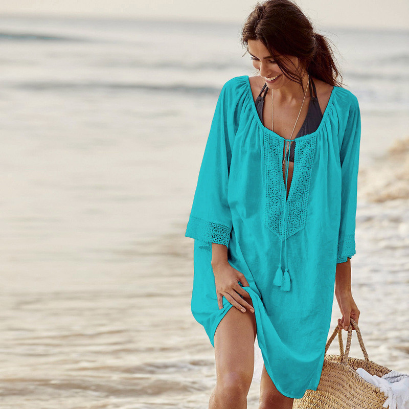 Туника пляжная голубая с кружевами, фото 1