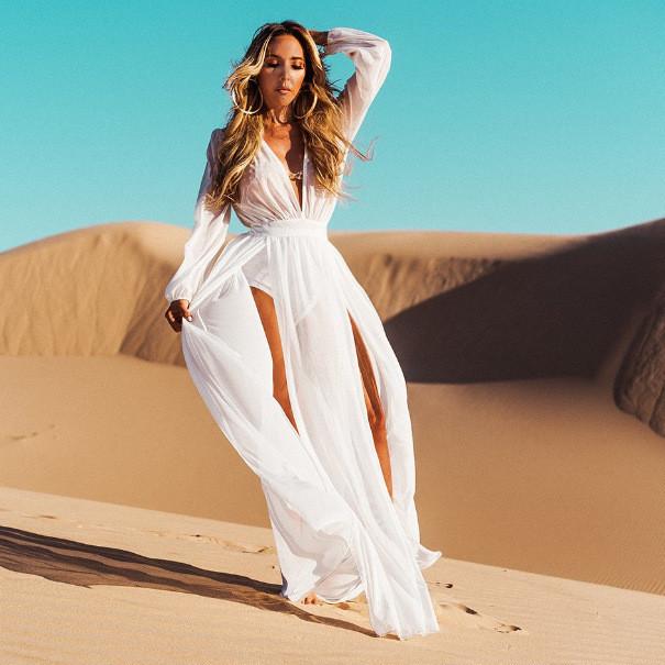 Длинное пляжное шифоновое платье-туника белого цвета, фото 1
