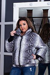 Жіноча весняна дута куртка з високим коміром і довгими манжетами, зміїний принт, батал великі розміри