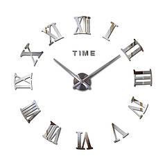 """Часы зеркальные серебро диаметр от 80см до 1 метр 20см """"римские 3D часы большие"""""""