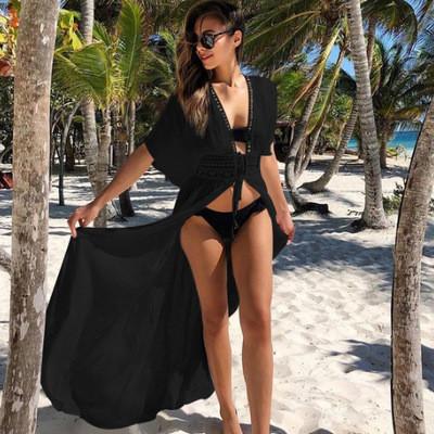 Накидка пляжная на завязках с кружевами черная опт