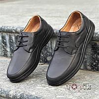 Мужские классические кожаные повседневные туфли, с ортопедическим эффектом черные на шнурках (Код: 1394а)