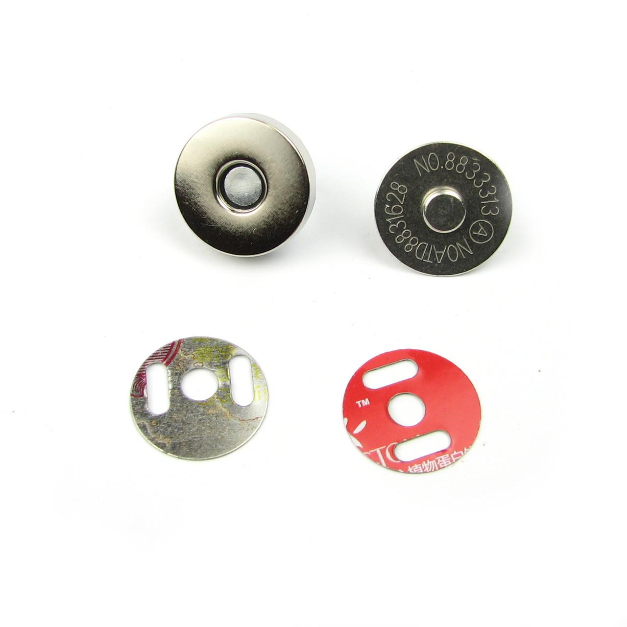 Магнитные кнопки 14мм, серебро Пара(2шт)