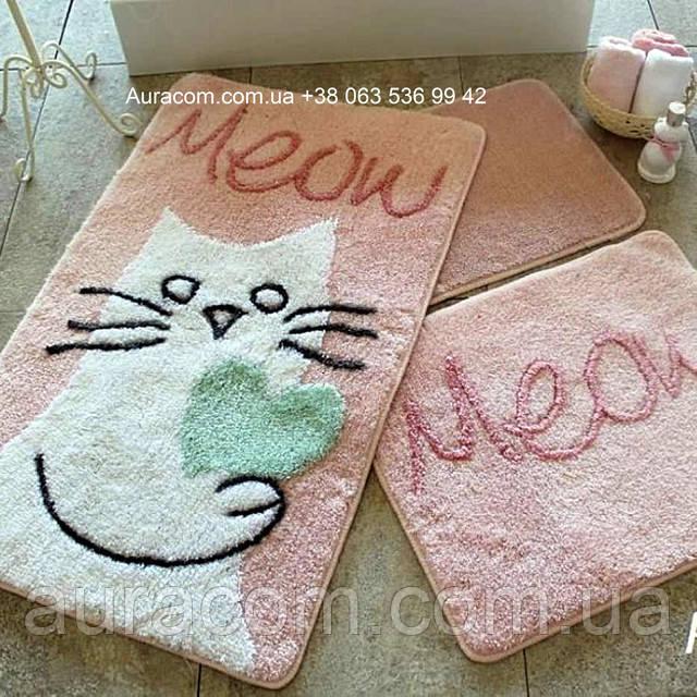 набор ковриков рзовый цвет с котиком