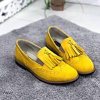 Лоферы женские натуральная замша желтые 11445, фото 1