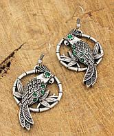 Серьги под серебро с зелеными камнями Корелла ТМ Скифская Этника