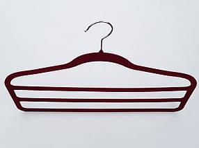 Плечики для брюк флокированныебардового цвета лестница 3-ехярусная, длина 45см, фото 2