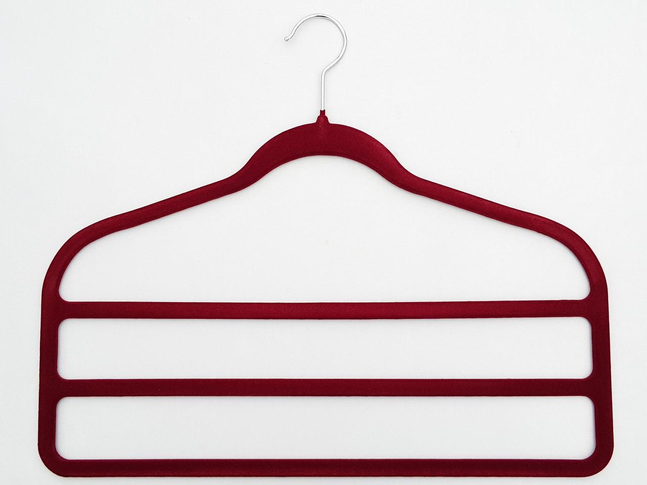 Плечики для брюк флокированныебардового цвета лестница 3-ехярусная, длина 45см