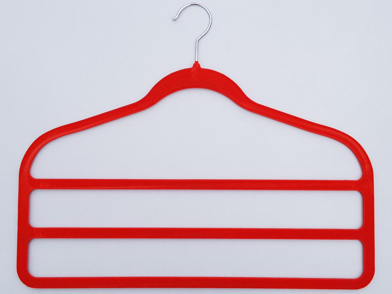 Плечики для брюк флокированныекрасного цвета лестница 3-ехярусная, длина 45см