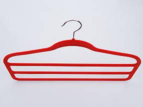 Плечики для брюк флокированныекрасного цвета лестница 3-ехярусная, длина 45см, фото 2