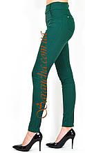 Жіночі/брюки жіночі класика з зеленого бенгалина