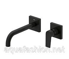 Чорний настінний змішувач для умивальника прихованого монтажу Tres Project 22 см 21120081NM