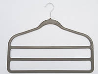 Плечики для брюк флокированные светло-серого цвета лестница 3-ехярусная, длина 45см