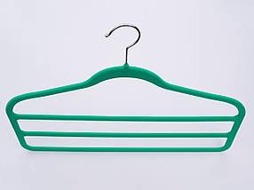 Плічка для штанів флокированные зеленого кольору драбина 3-х ярусна, довжина 45 см, фото 2