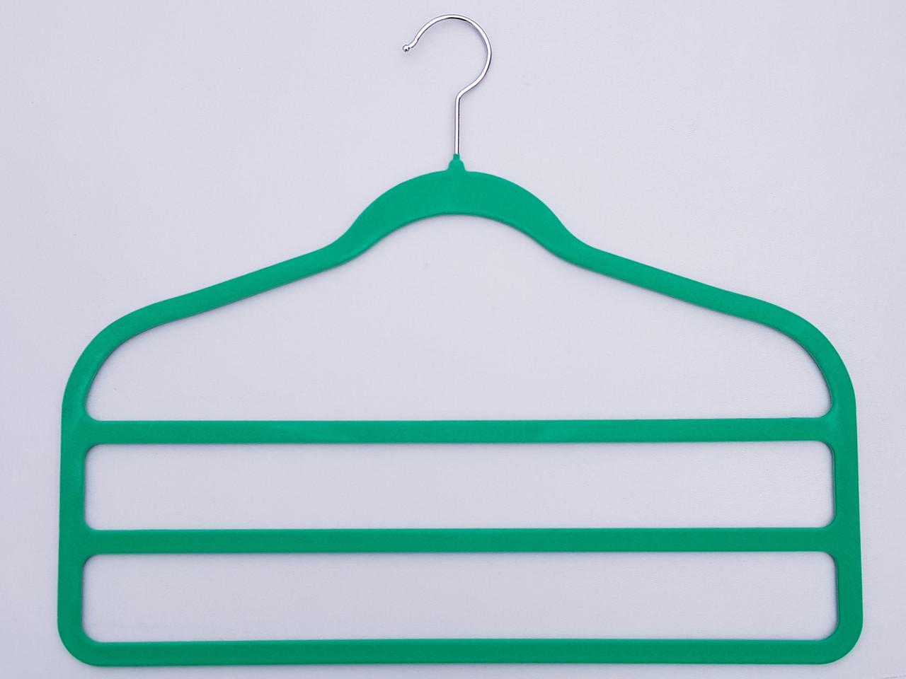 Плічка для штанів флокированные зеленого кольору драбина 3-х ярусна, довжина 45 см