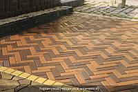 Тротуарная плитка Кирпич узкий - коричневый