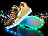 Gold Kids Step, Золотистые глянцевые светящиеся кроссовки LED (USB подзарядка), размер 25-30 (LK 1014)