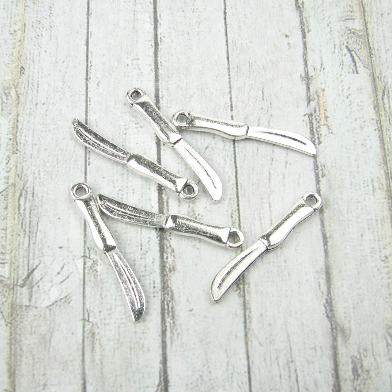 """Набор подвесок """"Ножи""""  серебро ,10шт , 25мм"""