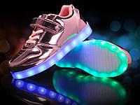 Pink Kids Step, Розовые глянцевые светящиеся кроссовки LED (USB подзарядка), размер 25-37 (LK 1015)