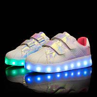 Rainbow Pink, Радужные кроссовки с подсветкой LED (USB подзарядка),размер 25-35 (LK 1022)
