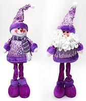 Новогодняя мягкая игрушка Санта и Снеговик 44см BonaDi SN21-27