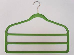 """Плечики флокированные (бархатные) """"лестница"""" 3-ех ярусная зеленого цвета, 45 см"""