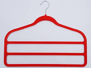 """Плечики флокированные (бархатные) """"лестница"""" 3-ех ярусная красного цвета, 45 см"""